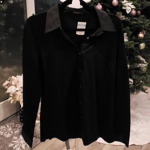 J. McLaughlin Betty Collar Fitted Shirt in Black